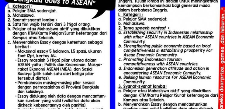 Pengumuman Pendaftaran Lomba :The 49th Anniversary of ASEAN – Bengkulu Goes to ASEAN